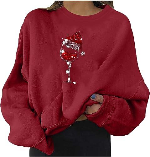 Christmas Sweatshirt for Women Fashion Casual Long Sleeve Printed Ladies Loose Sweatshirt Tops