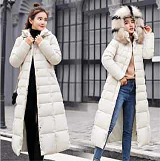 Women's Down Coat with Hood Thicker Winter Slim Down Jacket Long Puffer Jacket Lady Long White XL