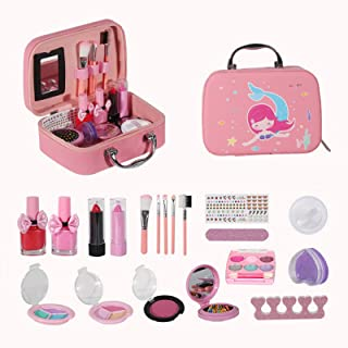 Girls Makeup Kit Real Kids Make Up Set Cosmetics Play Set Washable Safe with Carry Case for Little Girls Party Game Chrism...