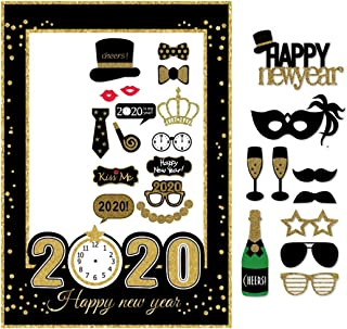 7-gost 2020 Happy New Year's Eve Party Photo Booth Props Supplies with Photo Frame(Pack of 26)
