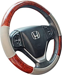 ZYHW Car Steering Wheel Cover Universal 15 Inch Middle Size Auto Anti-Slip Leather Wheel Protector with Wood Grain Design Gray Style B