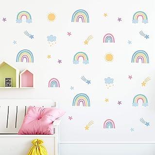Rainbow Wall Decals (58 Stickers) - Pastel Boho Rainbow...