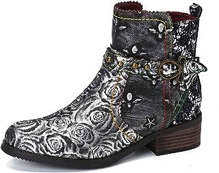 gracosy Bottines Cuir Femmes Plates, Chaussures de Ville Hiver à Talons Plat Semelle Confortable Bottes Chelsea Zip Boots ...