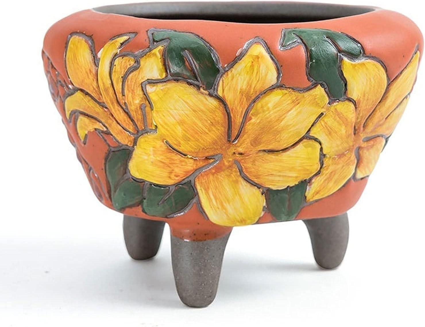 Hand-Painted Succulent Flower Max 76% OFF Pots Orange Outlet SALE w Ceramic