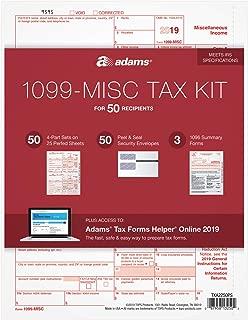 Adams 1099-MISC Kit for 2019, 4-Part Inkjet/Laser Sets for 50, 3 1096 Forms, 50 Peel & Seal Envelopes + Adams Tax Forms Helper Online (TXA2250PS)