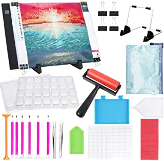 5D Diamond Painting Tools with A4 LED Light Pad Kit- Diamond Art Light Board with 5D Painting Tools, Apply to Full Drill &...