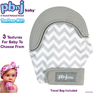 PBnJ baby Silicone Infant Teething Mitten Teether Glove Mitt Toy with Travel Bag - Gray Chevron