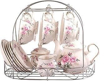 ufengke-ts 15 Pièces Européen Vintage Service À Thé Porcelaine avec Titulaire en Métal, Motif de Camellia Rose et Jante Do...