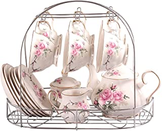 ufengke 15 Piece European Bone China Coffee Cup Set, Ceramic Porcelain Tea Cup Set with Metal Holder, Tea Gift Sets, Pink Camellia Painting