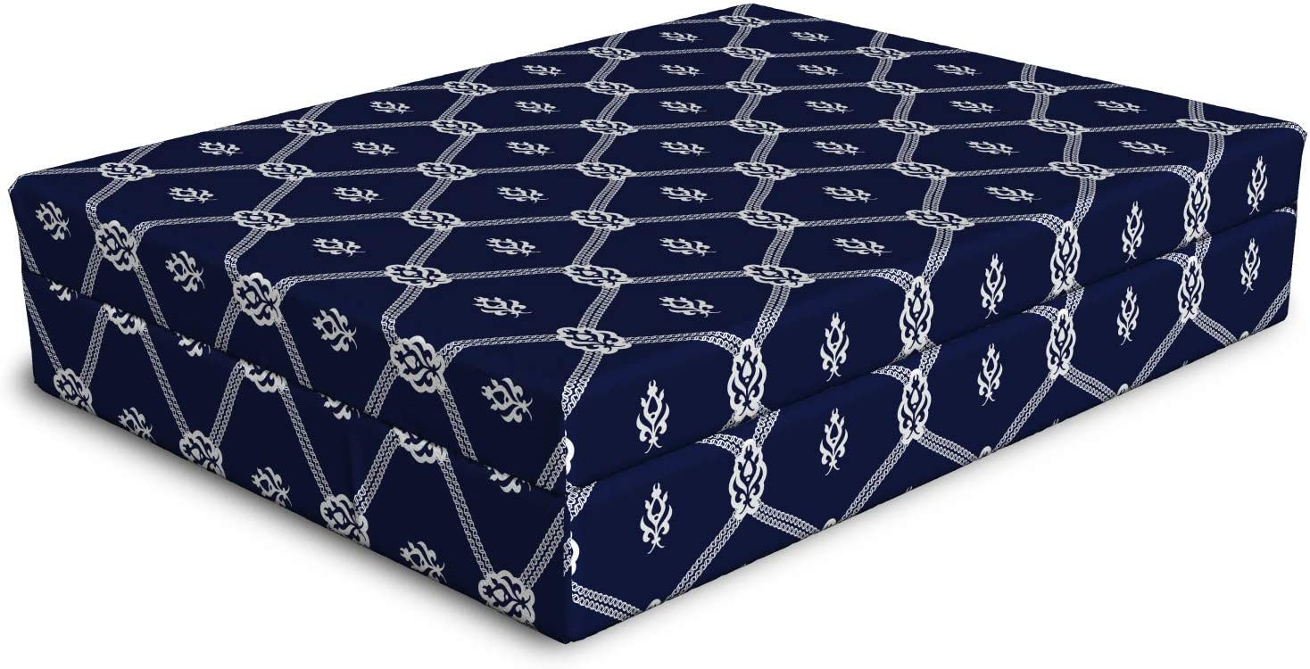 Ambesonne Geometric Dog Bed Max 41% OFF Ornamental wi Image OFFicial shop Nautical Themed