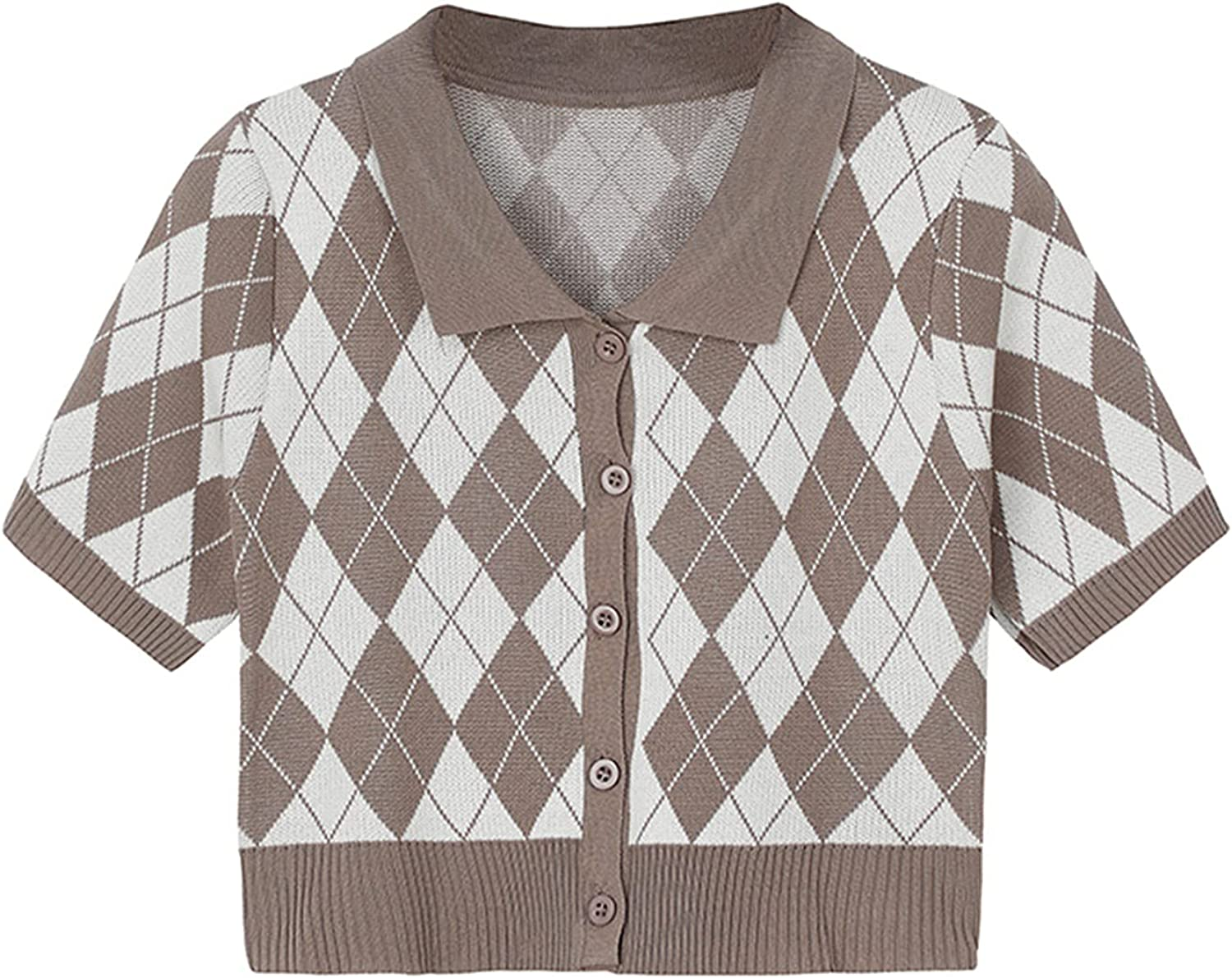 Women Casual Short Sleeve Cropped Cardigan Plaid Print Polo Knitwear 90s Button Down Preppy Sweater Y2K Tops