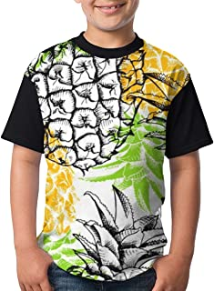 Yellow Pineapple Teenager Junior Boy's Girls Youth Short Sleeve T Shirt tee Sports Shirts(XL,Black)