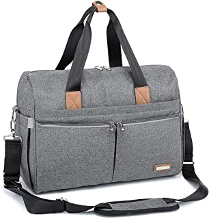 Diaper Bag, RUVALINO Large Travel Diaper Tote Multifunction for Mom and Dad Convertible Baby Bag for Boys and Girls with Changing Pad, Insulated Pockets (Gray)