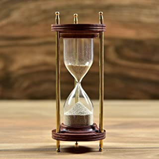 "De Cube Vintage Hourglass Sand Timer Coffee Table Office Desk Decor, Ideal Gift for Executive, Chef, Christmas, Birthday, Anniversary, Valentines (8.5"" Tall x 3.3"" Dia. Base) (Wood)"