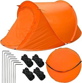 EYEPOWER Tienda de Campaña iglú 245x145x100cm 2 Personas instantánea automática para Campamento Festival Incl Accesorios Bolsa de Transporte Naranja