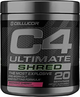 Cellucor C4 Ultimate Shred Pre Workout Powder, Fat Burner for Men & Women, Weight Loss Supplement with Ginger Root Extract...