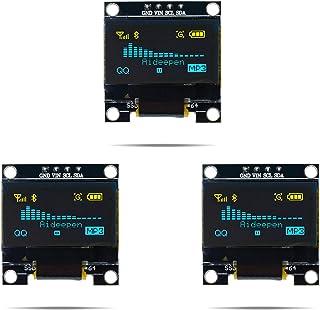 Aideepen 3個 0.96 OLEDディスプレイIIC I2C 128×64 OLEDモジュールSSD1306 ブルーイエロー 4ピンSPIインターフェイス画面 Arduinoに対応
