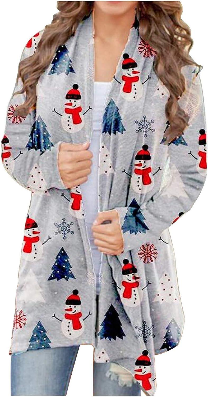 Womens Oversized Christmas Halloween Pumpkin Reindeer Print Open Front Sweater Cardigans Coats Jackets Outwear