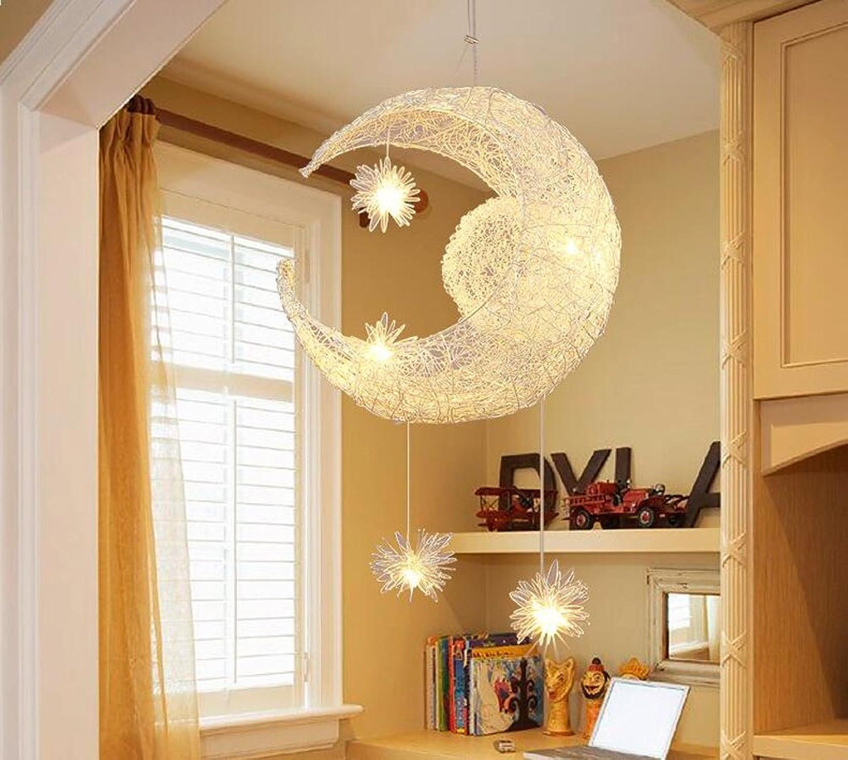 FAYM-Idées chambre salle de séjour chambre la lune les enfants stars fil en aluminium lustre