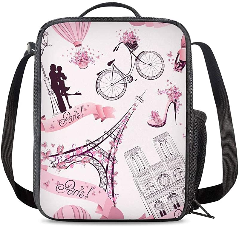 KiuLoam Romantic Paris Eiffel Tower Pink Kids Small Lunch Box Children S Insulated Lunch Bag With Zipper Shoulder Strap Cooler Lunch Tote For Boys Girl Preschool Office Picnic
