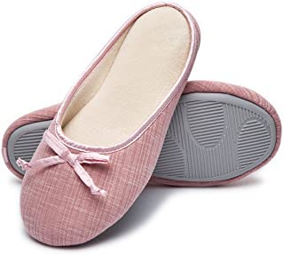 b0725adc400 Cozy Niche Women s Closed Toe Knitted Stripe Memory Foam House Slippers  With Cute Bow