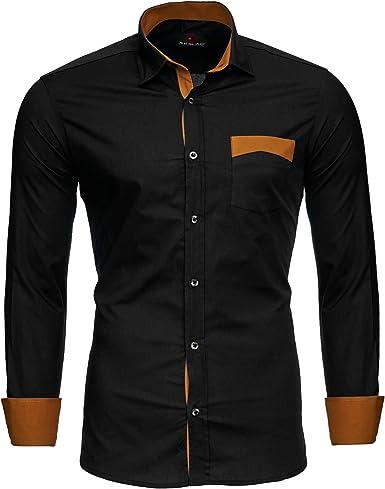 Reslad RS-7205 - Camisa para hombre en dos tonos, de manga larga