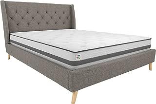 Novogratz Her Majesty Upholstered Linen Bed, Tufted Wingback Design and Wooden Legs, Full Size - Grey Linen