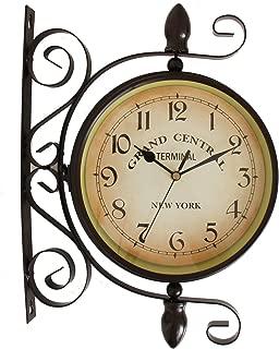 【エルアンドシー】アンティークステーションクロック 両面時計 時計 壁掛け アンティーク レトロ 男前 インテリア かっこいい