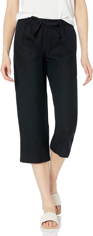 Amazon Essentials Women's Linen Blend Drawstring Crop Pant