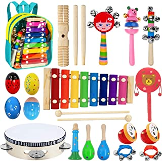 POKONBOY 23 Pack 12 Types Toddler Musical Instruments Toys, Wooden Percussion Instruments for Kids Early Learning Musical, Musical Toys Set for Boys Girls Gift with Storage Backpack