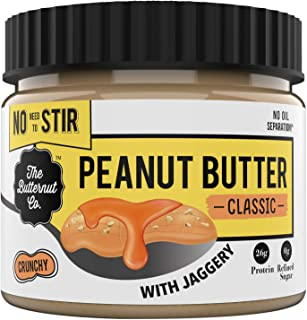 The Butternut Co. No stir Peanut Butter Classic (with Jaggery) Crunchy, 340 gm (No Added Sugar, Vegan, High Protein, Keto)