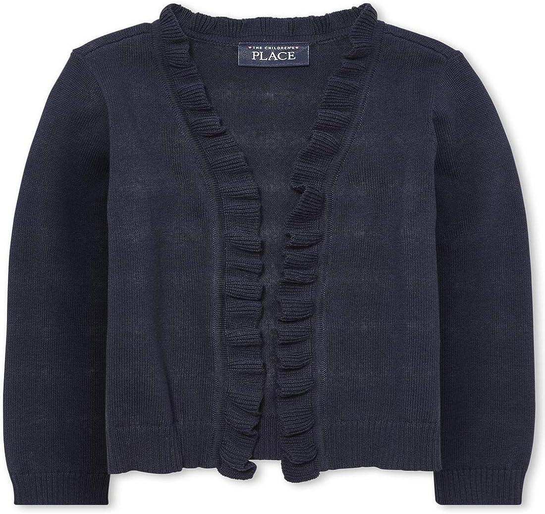 The Children's Place Girls' Toddler Uniform Ruffle Open Front Cardigan