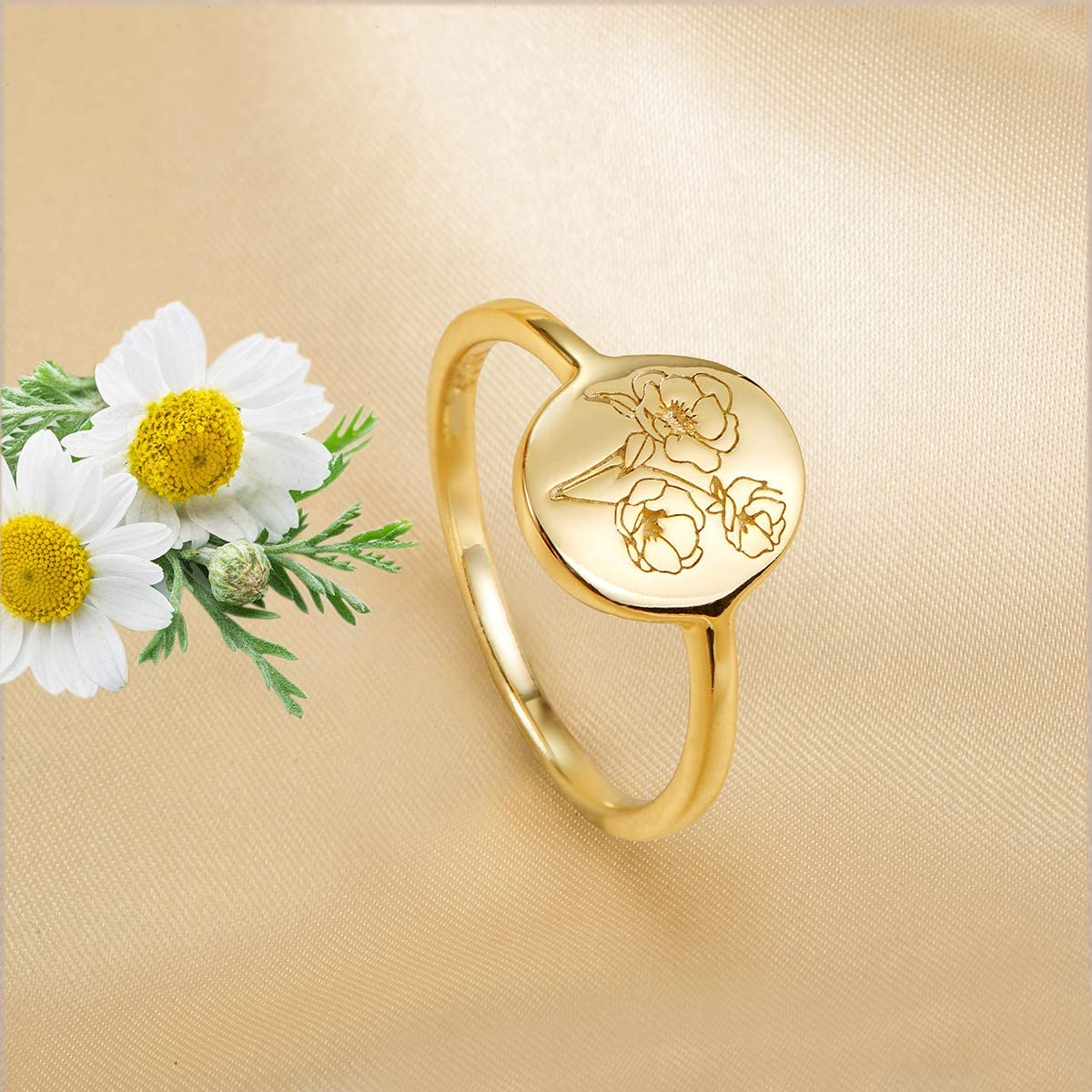 YeGieonr Handmade Flower Signet Ring Delicate Personalized Jewelry Gift for Women//Girls 18K Gold Ring-Minimalistic Statement Ring with Botanical Engraved
