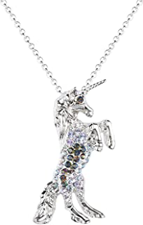 luomart Fairytale Unicorn Birthstone Necklace Jewelry White Gold Plated Austrian Crystal Pony Pendant Gift