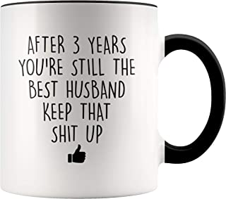 YouNique Designs 3 Year Anniversary Coffee Mug for Him, 11 Ounces, 3rd Wedding Anniversary Cup For Husband, Three Years, Third Year, 3rd Year