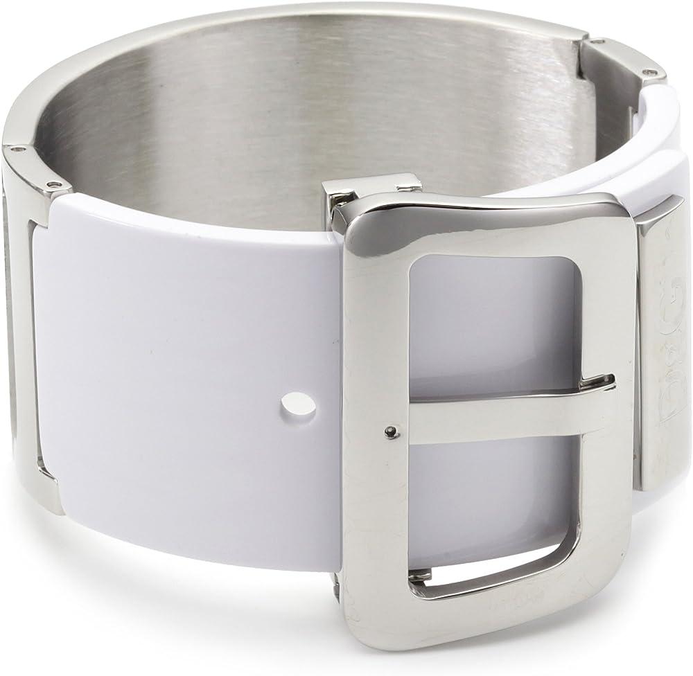 Dolce & gabbana,bracciale in acciaio e resina bianca per donna. DJ0647