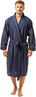 HiA Direct Mens Plain Poly Cotton Lightweight Summer Tie Belt Wrap Dressing Gown Robe Polyester Rich Nightwear with Two Po...