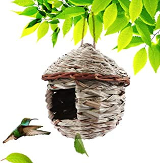 Kimdio Bird House,Winter Bird House for Outside Hanging,Grass Handwoven Bird Nest,Hummingbird House,Natural Bird Hut Outdoor,Birdhouse for Kids,Songbirds House (House)
