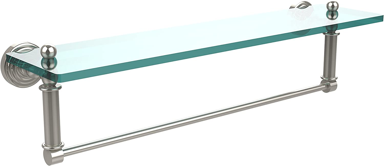 Allied Brass WP-1TB 22-PNI Glass Shelf with Towel Bar, 22-Inch x 5-Inch