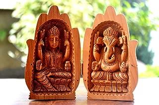 CraftVatika Lakshmi Ganesh Statue - Diwali Laxmi Ganesh Hindu Religious Wooden Kadam Idol- Unique Hand Carved Open Palm Sculpture