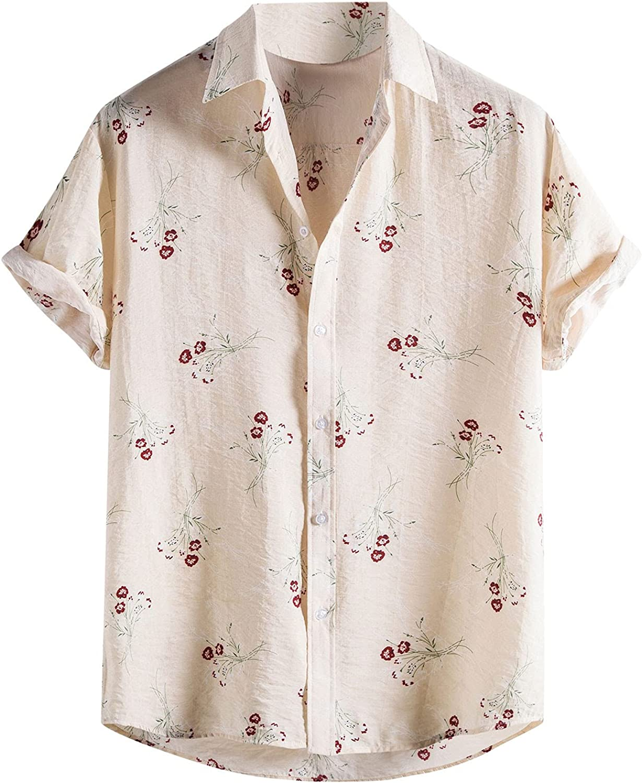 Men's Cotton Linen Shirts Short Sleeve Summer Floral Button Down Hawaiian Shirt Relaxed-Fit Vintage Casual Beach Tops
