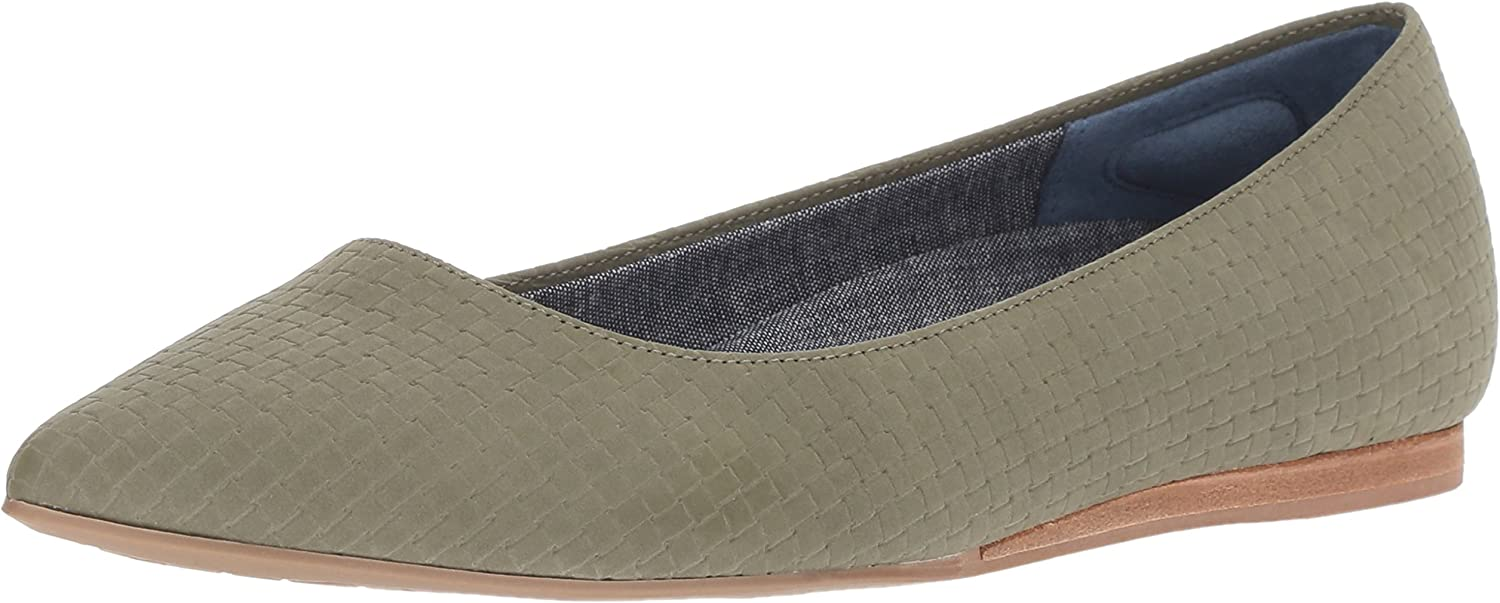 Dr. Scholl's shoes Women's Leader Ballet Flat, Olive Green Woven Embossed Print, 8.5 W US