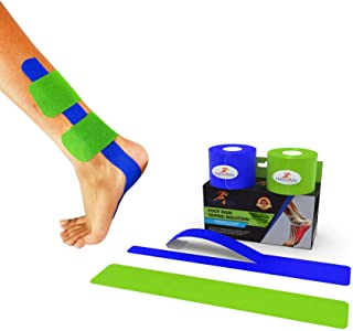 PFFIX/Heal4Me Plantar Fasciitis Foot Tape - PreCut Comfort Cotton Arch Support Tape with E-Book, Physiotherapist Recommended for Running, Athletic Sports and Injuries. Over 30 Day Supply