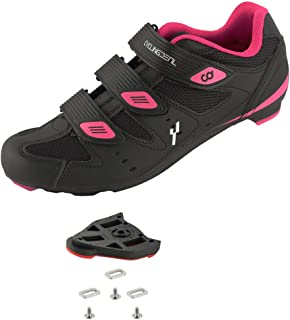 CyclingDeal Bicycle Road Bike Universal Cleat Mount Women's Cycling Shoes Black with 9-Degree Floating Look ARC Delta Compatible Cleats Compatible with Peloton Indoor Bikes Pedals