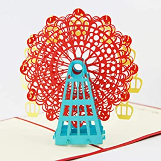 BC Worldwide Ltd handmade 3D pop-up biglietto d'auguri ruota panoramica San Valentino, anniversario di matrimonio, festa d...