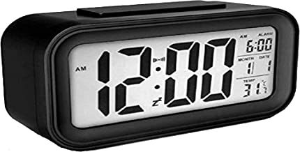 HoneyDell Digital Smart Backlight Alarm Clock with Automatic Sensor,Date & Temperature, Alarm Clocks for Bedroom, Digital Clock with Alarm,for Students,Desk,Table (Black OR White)