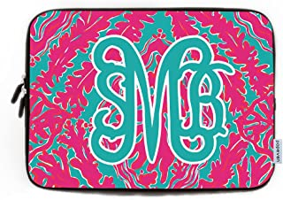 Monogrammed Initials on Computer Sleeve 17 17.3 Inch Personalized Leaves Design Netbook Tablet Laptop Case Soft Neoprene Sleeve Case Cover for 17.3