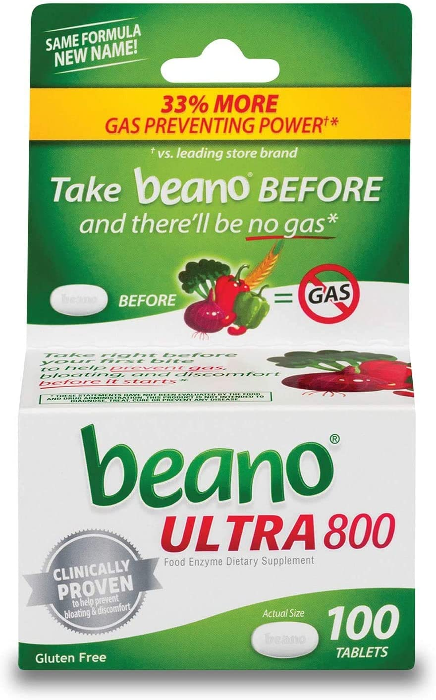 Beano Food Enzyme Dietary Supplement Tablets, 100 Tablets (Pack of 2) : Everything Else