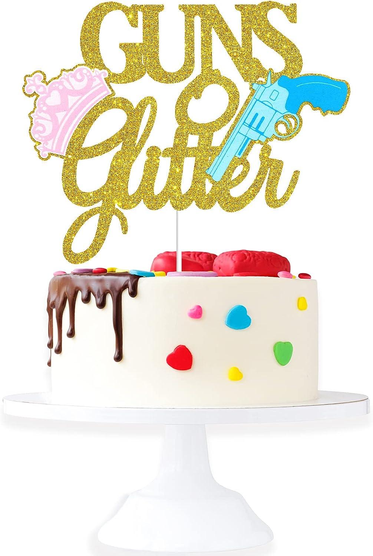 Guns Or Manufacturer OFFicial shop Glitter Gender Reveal Topper Gold Cr Cake Max 74% OFF -