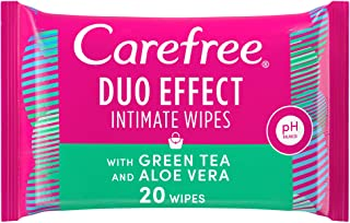 CAREFREE Daily Intimate Wipes for feminine hygiene care, Duo Effect with Green Tea and Aloe Vera, Pack of 20 Wipes